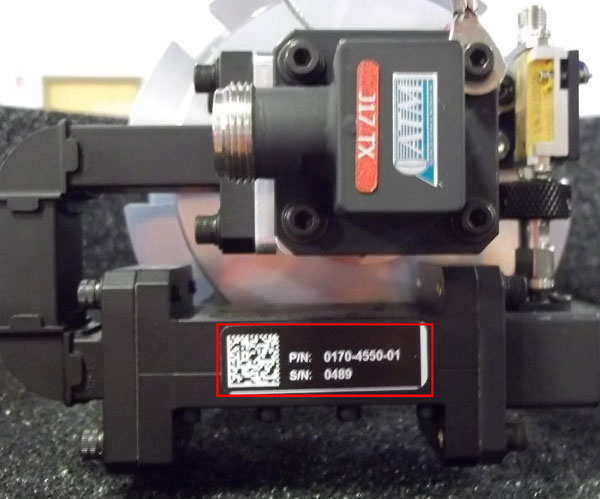 Component Serial Numbers can be found in various places on the equipment depending on the component. The part number and serial number will be found on one of a few different types of labels. Standard labels are shown in example pictures below.